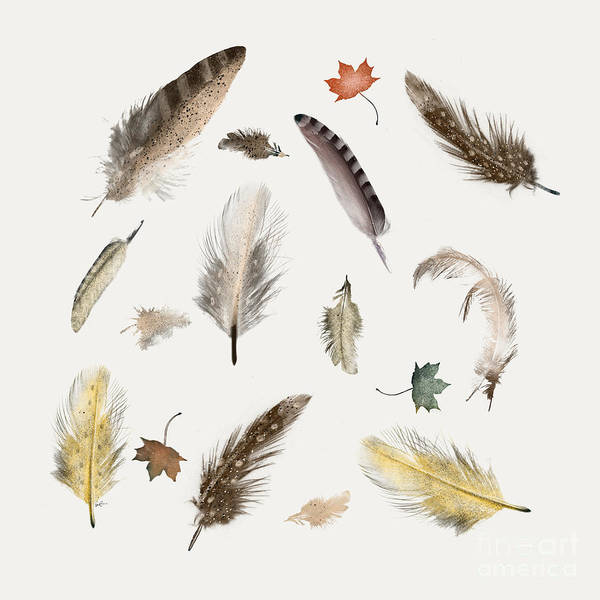 American Home Painting - Inner Nature Feathers And Leaves by Bri Buckley