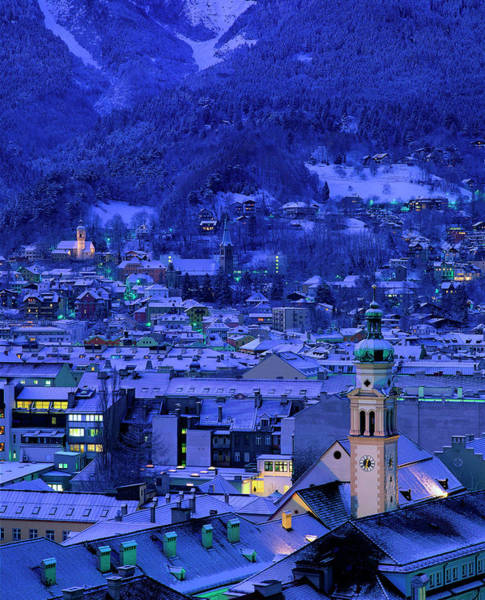 Bleached Photograph - Innsbruck At Night, Austria by Walter Bibikow