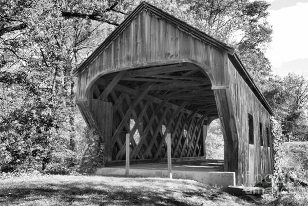 Wall Art - Photograph - Inside The Eureka School House Covered Bridge Black And White by Adam Jewell