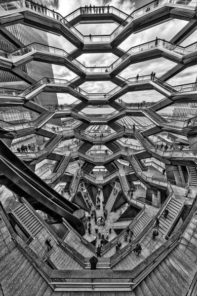 Photograph - Inside The Hudson Yards Vessel Nyc  Bw by Susan Candelario