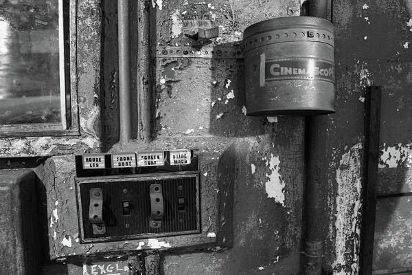 Photograph - Inside The Projection Room - Bw by Kristia Adams
