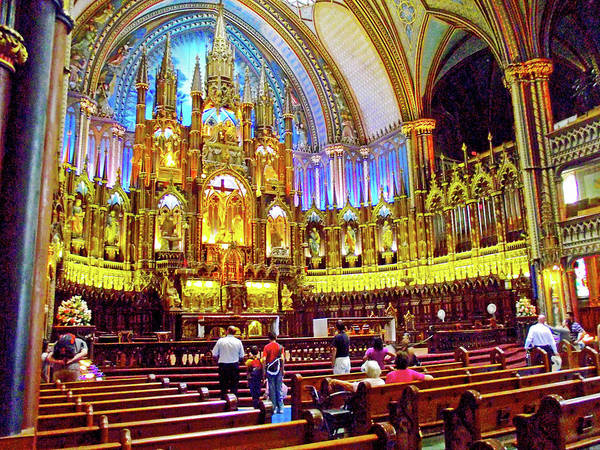 Wall Art - Photograph -  Inside View From Side Of Basilica Notre-dame De Montreal, Quebec by Ruth Hager