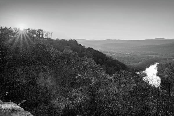 Photograph - Inspiration Point Sunset - Ozark Mountain Autumn Overlook In Monochrome by Gregory Ballos