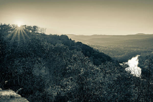 Photograph - Inspiration Point Sunset - Ozark Mountain Autumn Overlook In Sepia by Gregory Ballos