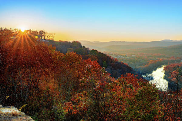 Photograph - Inspiration Point Sunset - Ozark Mountain Autumn Overlook by Gregory Ballos
