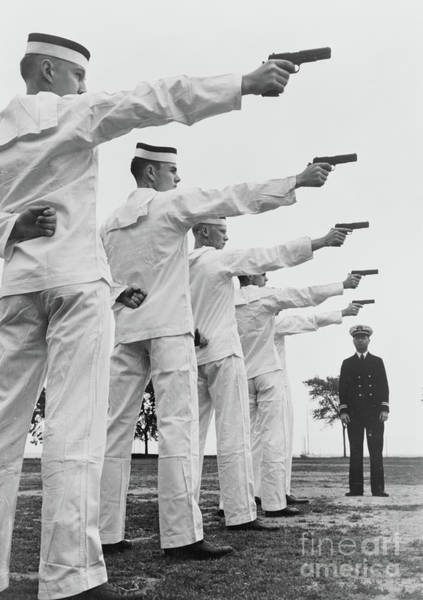 Wall Art - Photograph - Instruction In Pistol Shooting At Us Naval Academy, Annapolis, Maryland, 1942 by American School