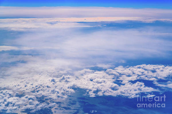 Intense Blue Sky With White Clouds And Plane Crossing It, Seen From Above In Another Plane. Art Print
