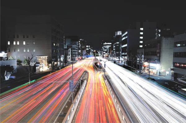 Intense Car Light Trails Art Print