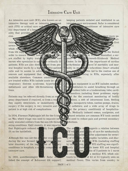 Wall Art - Digital Art - Intensive Care Unit Gift Idea With Caduceus Illustration 01 by Aged Pixel