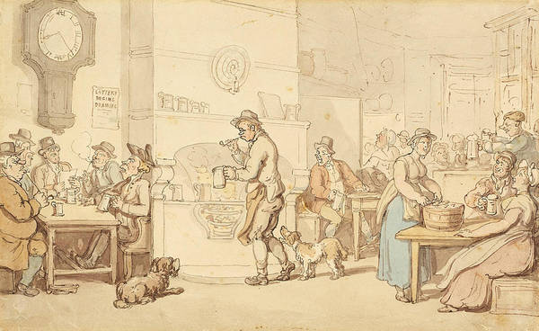 Wall Art - Drawing - Interior Of An Inn by Thomas Rowlandson