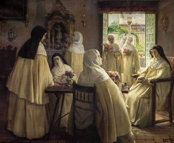 Wall Art - Painting - Interior Of Convent With Mercedarian Nuns Scene, 1922 by Jose Rico Cejudo