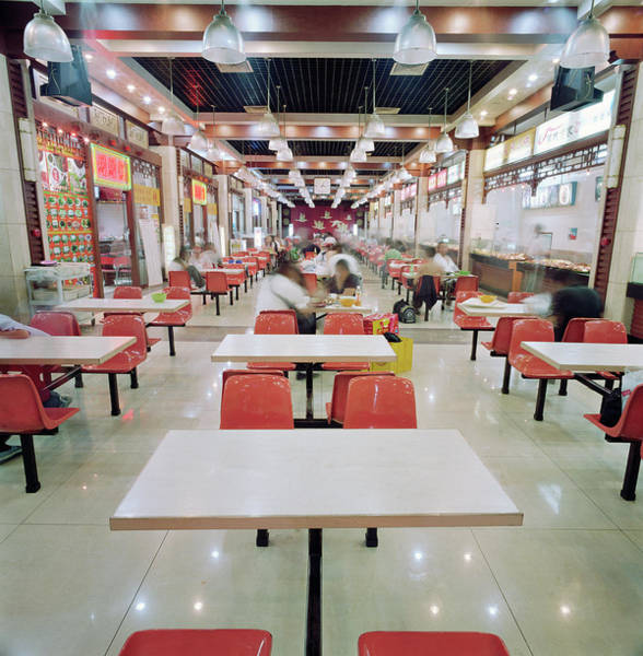 Photograph - Interior Of Fast Food Restaurant In by Martin Puddy