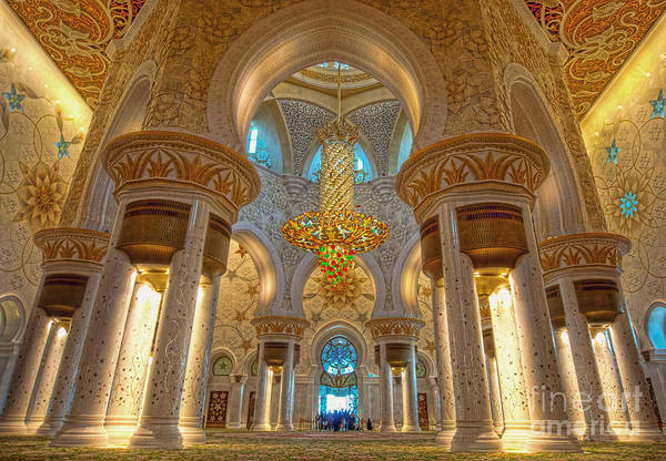 Marble Wall Art - Photograph - Interior Of Shiekh Zayed Mosque by Naufal Mq