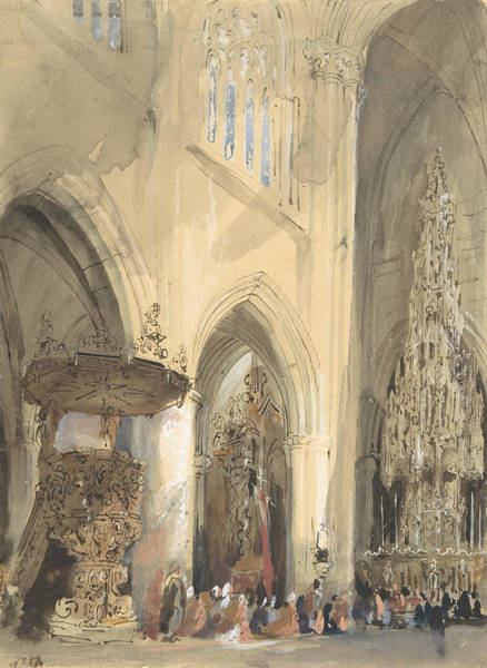 Drawing - Interior Of The Church Of St. Jacques, Louvain by Jenaro Perez Villaamil