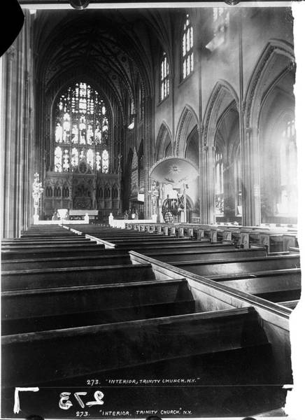 Trinity Photograph - Interior Of Trinity Church by The New York Historical Society