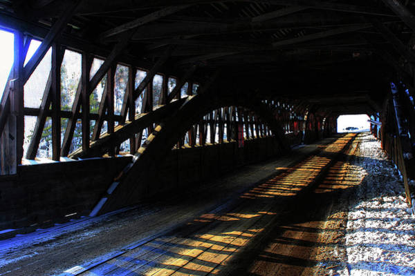 Photograph - Interior Trusses In A Covered Bridge by Wayne King