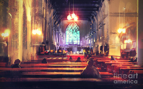 Wall Art - Digital Art - Interior View Of A Church,digital by Tithi Luadthong
