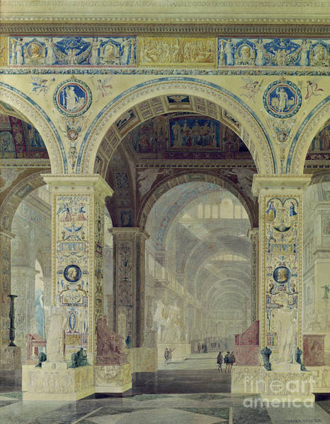 Wall Art - Painting - Interior View Of The Louvre by Charles Percier