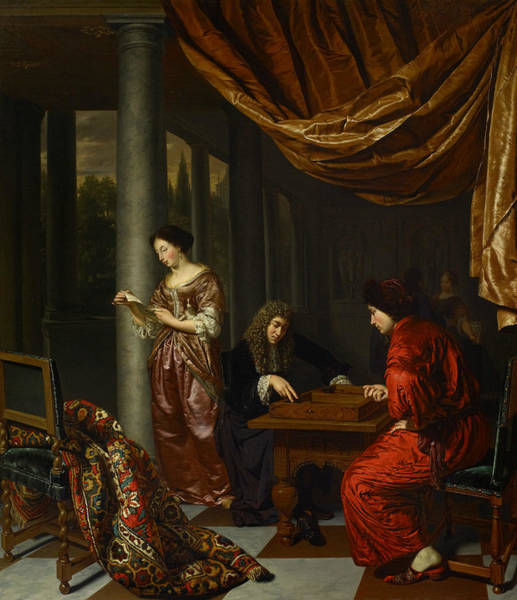 Painting - Interior With Figures Playing Tric-trac  by Frans van Mieris the Elder
