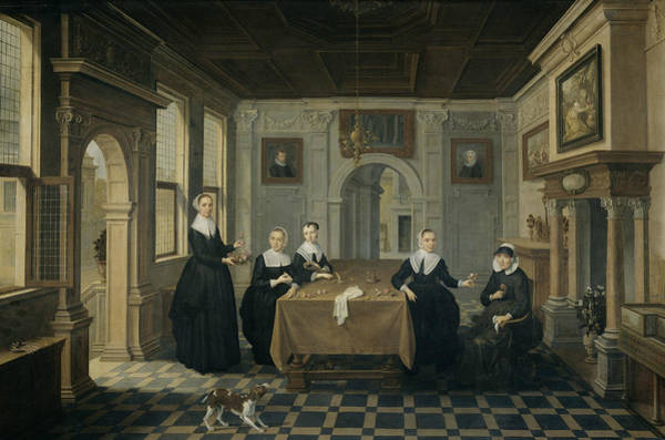 Wall Art - Painting - Interior With Five Ladies by Bartholomeus van Bassen