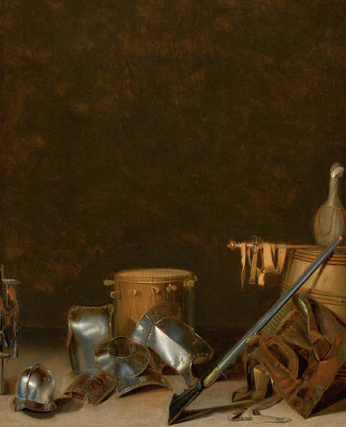 Wall Art - Painting - Interior With Still Life Of Armour by Gerhard van Steenwyck