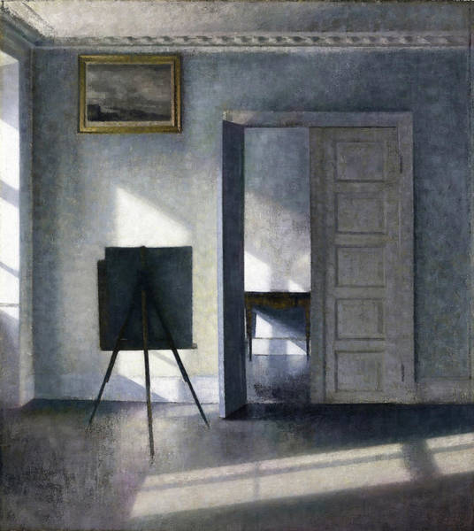 Wall Art - Painting - Interior With The Artists Easel - Digital Remastered Edition by Vilhelm Hammershoi