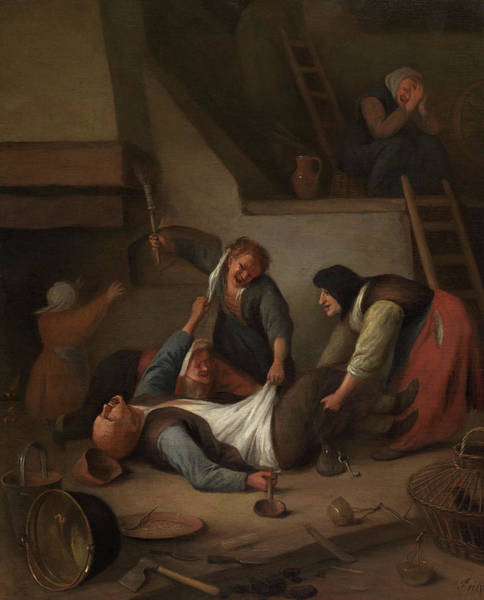 Wall Art - Painting - Interior With Women Thrashing A Man, Peasants Fighting by Jan Steen
