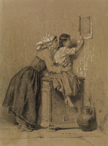 Wall Art - Drawing - Interior, Woman And Child by Alexandre-Marie Guillemin