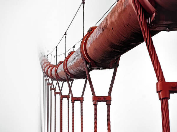 Wall Art - Photograph - International Red Main Cable Of Golden Gate Bridge - San Francisco by Daniel Hagerman