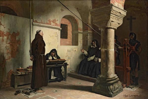 Trial Painting - Interrogation Of Bernard Delicieux, 1881 by Jean-Paul Laurens