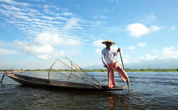 Sun Hat Photograph - Intha Fisherman, Inle Lake, Nyaungshwe by Lynn Gail