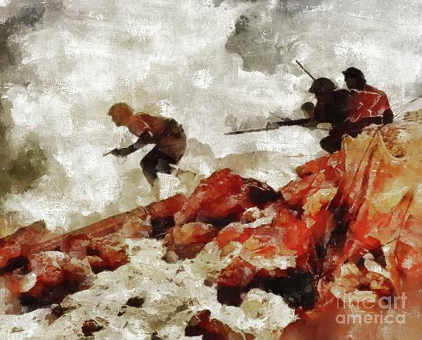 Wall Art - Painting - Into Battle, Wwii by Mary Bassett