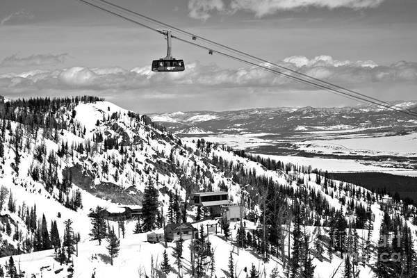 Photograph - Into The Jackson Hole Clouds Black And White by Adam Jewell