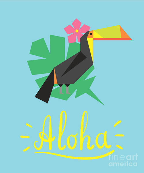Aloha Wall Art - Digital Art - Invitation Card Template With Geometric by Radiocat