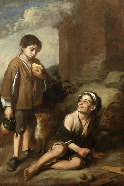 Olive Oil Painting - Invitation To A Game Of Argolla, 1660 by Bartolome Esteban Murillo