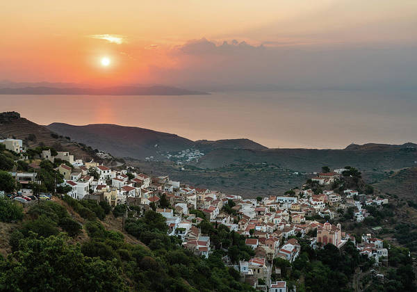 Photograph - Ioulis Town Sunset, Kea by Milan Ljubisavljevic