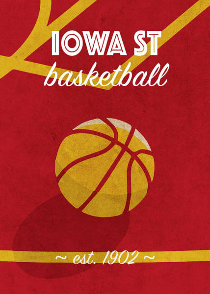 Wall Art - Mixed Media - Iowa St University Retro College Basketball Team Poster by Design Turnpike