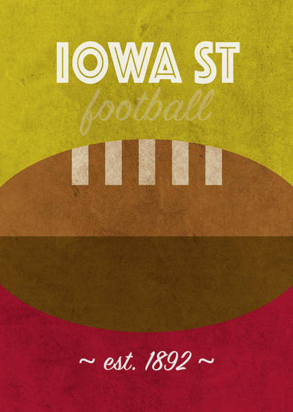 Wall Art - Mixed Media - Iowa State College Football Team Vintage Retro Poster by Design Turnpike