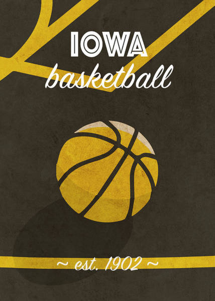 Wall Art - Mixed Media - Iowa University Retro College Basketball Team Poster by Design Turnpike