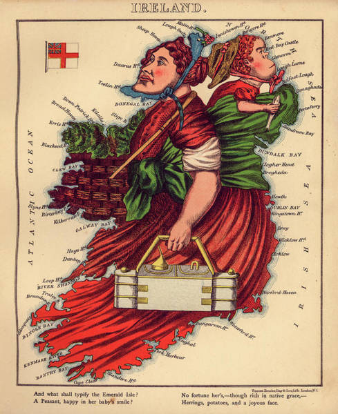 Wall Art - Painting - Ireland, Map, 1868 by William Harvey