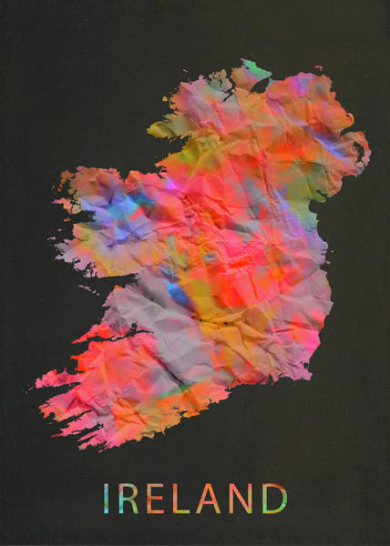 Ireland Mixed Media - Ireland Tie Dye Country Map by Design Turnpike