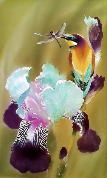 Painting - Iris And Bee-eater Bird With Dragonfly by Alina Oseeva