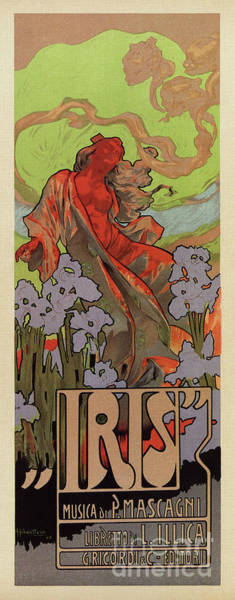 Drawing - Iris Art Nouveau Opera by Aapshop