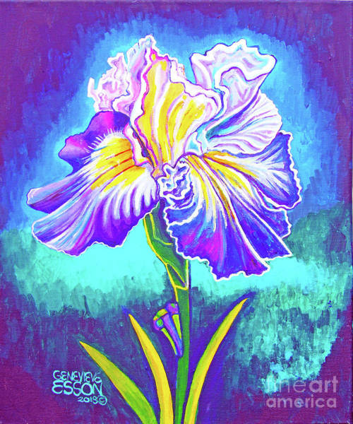 Wall Art - Painting - Iris In Violet by Genevieve Esson