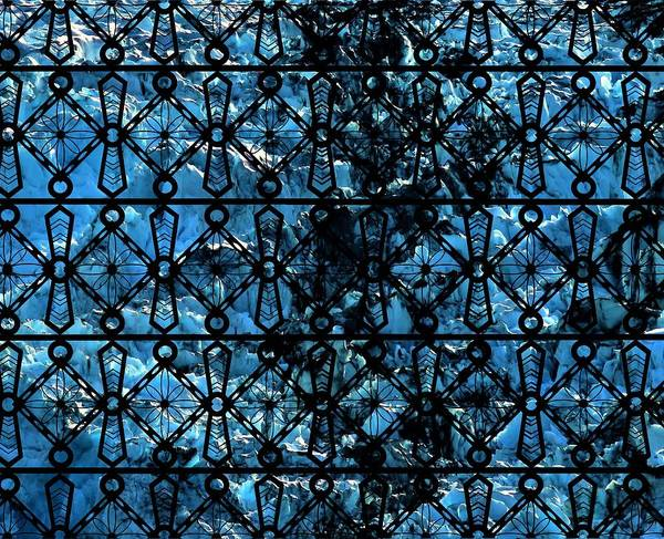 Mixed Media - Iron Lattice Pattern Glacier Abstract by Joan Stratton