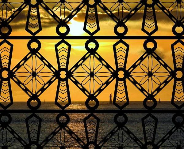 Mixed Media - Iron Lattice Pattern St Malo Sunset by Joan Stratton