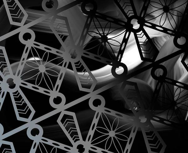 Drawing - Iron Lattice Pattern - The Darkness Comes by Joan Stratton