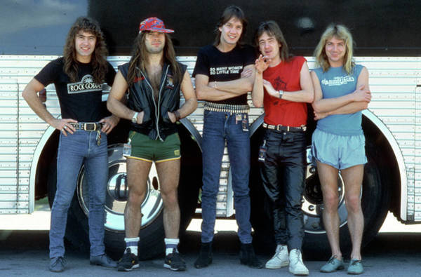 Iron Maiden Wall Art - Photograph - Iron Maiden In Front Of Their Tour Bus by Michael Ochs Archives