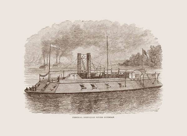 Civil War Drawing - Ironclad River Gunboat Engraving - Union Civil War by War Is Hell Store