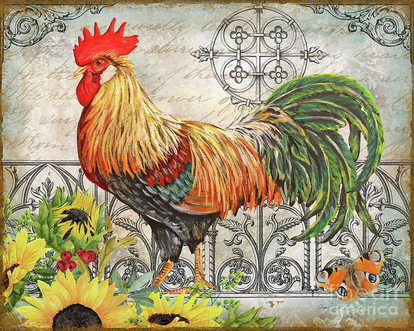 Wall Art - Painting - Ironwork Rooster A by Jean Plout